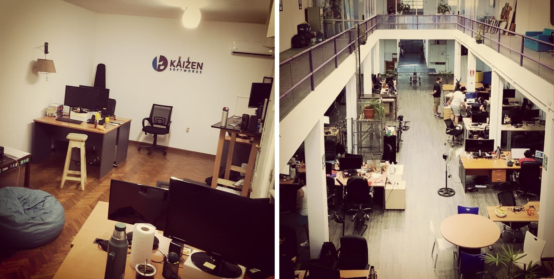 Kaizen Softworks offices in 2015 and 2019 comparision