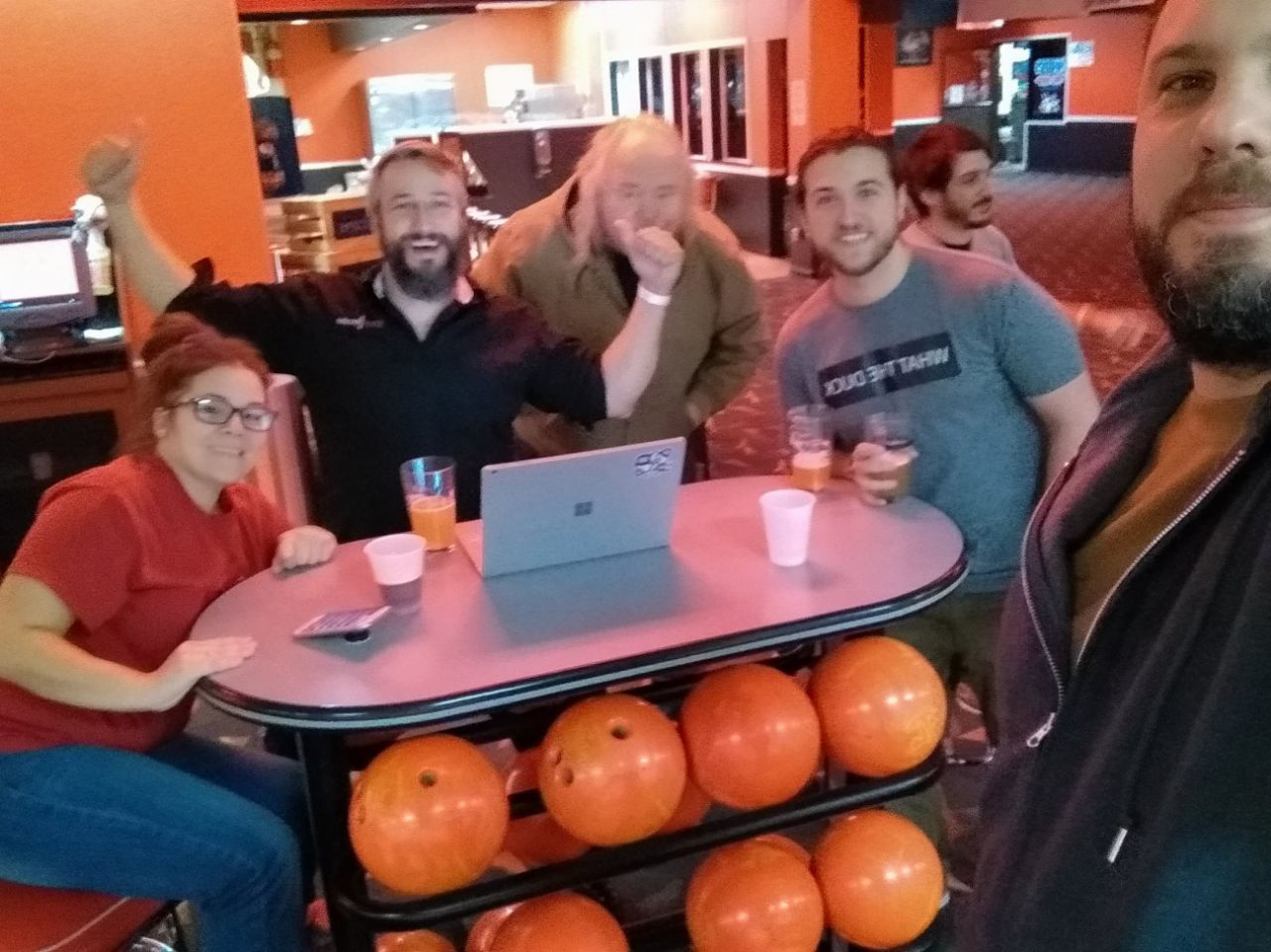 Kaizen Softworks playing bowling with the SmartBorder team